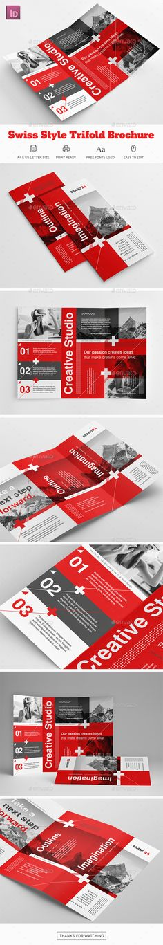 Swiss Style Trifold Brochure - Corporate #Brochures Download here: https://graphicriver.net/item/swiss-style-trifold-brochure/20026485?ref=alena994