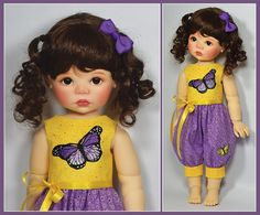 Yellow and Purple Spring Romper for Saffi by Meadowdolls by Maggie & Kate Create