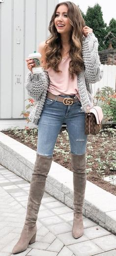 1b4c4df793d taupe suede chunky heeled knee-high boots Preppy Fall Outfits