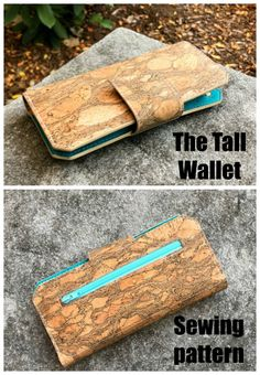 Tall Wallet sewing pattern with video - Sew Modern Bags Diy Leather Wallet Pattern, Wallet Sewing Pattern, Pouch Pattern, Leather Pattern, Sew Wallet, Fabric Wallet, Bag Patterns To Sew, Sewing Patterns Free, Zipper Pouch Tutorial