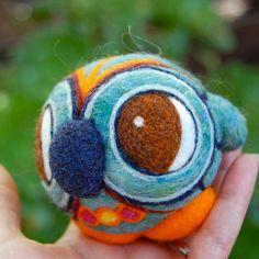 Vintage ispirato ago infeltrita Gufo blu palla giocattolo lanoso su ordinazione