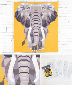 Elephant Abstraction Quilt Kit by Violet Craft for Craftsy featuring  Michael Miller Cotton Couture Solids.   Modern paper pieced quilt  pattern.   Quilt kit includes solid fabrics and quilt pattern.    affiliate link.