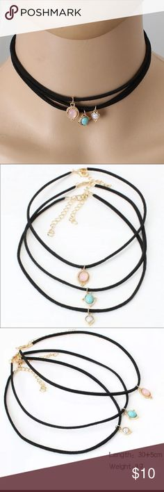 Moonstone Layered Choker 3 Adorable drop stone chokers create a layered feel. Three different colored stones as you can see in the photos.    ❌ No trades   PRICE FIRM  Bundle three or more and get 10% off Jewelry Necklaces