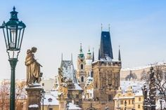 Karlov or charles bridge in Prague in winter Riverside Cafe, Prague Winter, Belgium Europe, Peninsula Hotel, Julian Alps, Best Christmas Markets, Visit Switzerland, Charles Bridge, Lake Bled