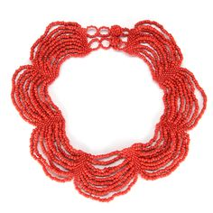 "Multiple strands of glass beads in a crochet pattern featuring a button closure. 16"" length. Handmade by talented artisans in developing countries. Arrives in a jute drawstring gift bag with an artisa"