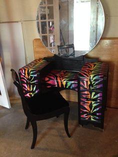Rainbow zebra print room decor