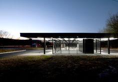 """Reconstruction of Mies van der Rohe´s gas station, 1960, by LES ARCHITEKTEN FABG in Montreal. """"The project is not about the faithful restoration of a monument. It is an interpretation trying to touch and communicate the essence of an artistic vision formulated by someone else in response to a world that is no longer the same. musicians do this every day."""" - les architectes FABG Foto: steve montpetit"""