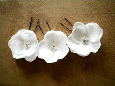 3 Soft white flower pins with Rhinestones and pearls by priya123, $18.99