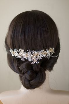 Gold Pearl and Crystal Bridal Hair Comb