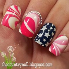 Patriotic Watermarble! 4th of July nails -- Really love this! I think this is easily one of my favorite patriotic nail designs. Easily.