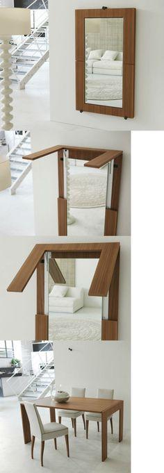 Mesa Compacta Que, Plegada, Puede Usarse Como Espejo U2022 Creative Dining Table  Design