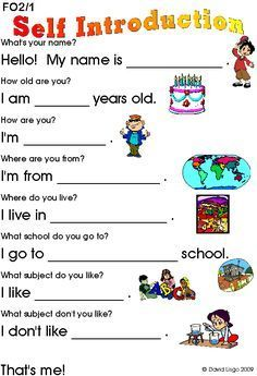 worksheets on myself - Google Search