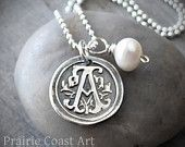 Personalized Silver Wax Seal Initial Necklace - Ornate Fine Silver Custom Initial Charm with Sterling Silver Ball Chain. $40.00, via Etsy.