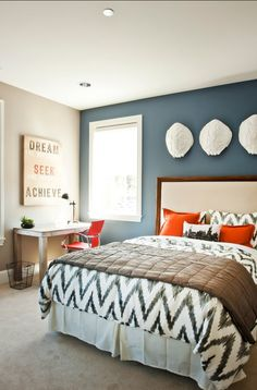"""Paint Color: The blue is """"SW 6243 Distance by Sherwin-Williams"""". The rest of the room is """"Perfect Greige, also by Sherwin-Williams""""."""