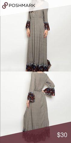 White wine maxi dress WHITE WINE Maxi DRESS Made in chaina  Fabric Content: 100% RAYON Size Scale: S-M-L Love Riche Dresses Maxi