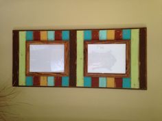 """Distressed Solid Wood Picture Frame - 16""""x36"""" Frame holds two 8""""x10"""" Pictures on Etsy, $110.00"""