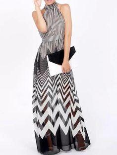 Monochrome, Tie Back ,High Neck, Stripe Print,  Maxi Dress