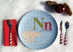 Personalized Boy Holiday Plate Polar by Dylbug on Etsy, $20.00