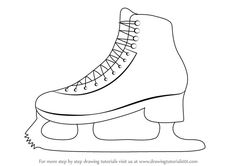 Learn How to Draw Ice Skates (Other Sports) Step by Step : Drawing . Ice Skate Drawing, Hockey Drawing, Winter Crafts For Kids, Art For Kids, Ice Skating Cake, Winter Drawings, Colouring Pages, Coloring, Rock Painting Ideas Easy