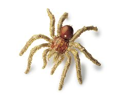 """Hemmerle's Tarantula brooch (1995), from the """"Art of Nature"""" series. The body is made up of a 111.76ct dark brown conch pearl - one of the l..."""