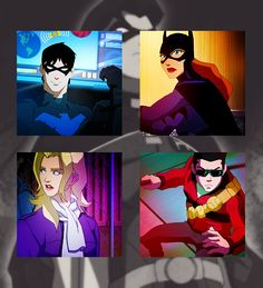 Young Justice Batfamily! Dick Grayson, Barbara Gordon, Tim Drake, Stephanie Brown / I was so happy when I saw they'd included Steph! YJ had such potential for all the lesser-known characters.