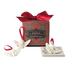 Three Angeles Ornament Soap in Red Bow Gift Box by Gianna Rose Atelier Angel Ornaments, Ball Ornaments, Soap On A Rope, Balsam Fir, Animal Sculptures, Burnt Orange, Helpful Hints, Porcelain, Christmas Decorations