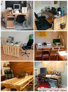 mesas de oficina hechas con palets #decoration #diy #upcycle #repurposed #bricolaje #crafts #manualidades #chair #pallets #office #oficina #ideas #easy #lifehacks #tips #trucos #desk #escritorio #oficina #despacho #study #recycle