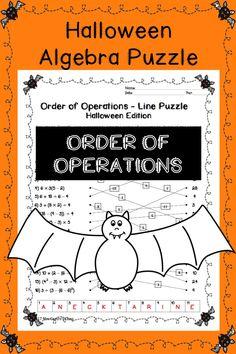 Algebra Halloween activity puzzle. Order of Operations.