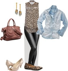 Chambray Leopard leather leggings