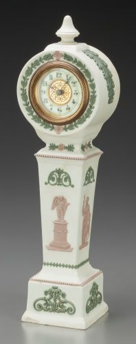 Wedgwood Tri-Color Jasperware Clock, Staffordshire, England, late 19th century.