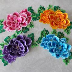 3D Embroidered motif Peony Flower patch iron or sewing on applique or Scrapbook