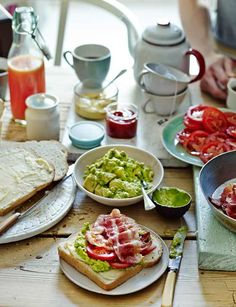 DIY bacon butties ( butty is an English term of a buttered bread wrapped around anything you want. In this recipe, it is avocado, tomato and bacon