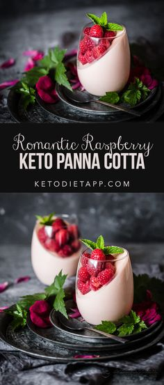 This low-carb panna cotta is a simple yet spectacular keto dessert that is perfect for Valentine's Day. Romance in a glass! This low-carb panna cotta is a simple yet spectacular keto dessert that is perfect for Valentine's Day. Romance in a glass! Gourmet Desserts, Low Carb Desserts, Health Desserts, Low Carb Recipes, Whole Food Recipes, Dessert Recipes, Dessert Healthy, Dinner Recipes, Gourmet Foods
