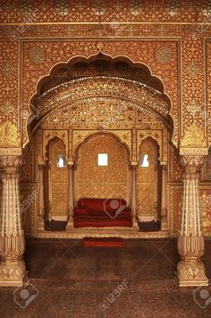 Ornately decorated room inside the palace of an Indian Maharjah - Stock Photo - Ideas of Stock Photo Photo - Picture of Ornately decorated room inside the palace of an Indian Maharjah. Bikaner Rajasthan stock photo images and stock photography. Mughal Architecture, Ancient Architecture, Beautiful Architecture, Architecture Portfolio, Futuristic Architecture, Photos Free, Ganapati Decoration, Indian Aesthetic, Royal Indian