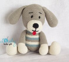 This puppy crochet pattern is available in English, Danish and Dutch languages.It´s very easy to make if you know all the basic crochet terms. Pattern comes with lots of photos illustrating the process to help you.Pattern can be made with sport or worsted weight yarn. The finished dog size is about 10.6 inch (27 cm), when done with sport weight yarn and size C crochet hook (2.75 mm ). The size of dog may vary depending on the size of hook and yarn you use.Thanks for looking and happy…