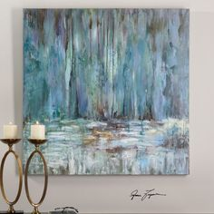 This textured hand painted artwork, done in soothing pastels, is on canvas that has been stretched and attached to wooden stretching bars. Due to the handcrafted nature of this artwork, each piece may