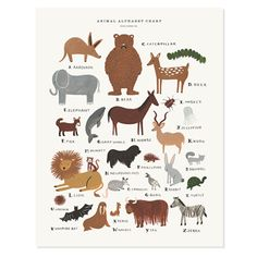 Children's Animal Alphabet Chart