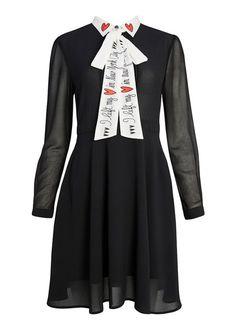 Ronnie Tie Collar Dress | I Left My Heart In New York | Black Dress | Joanie Clothing