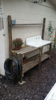 Potting bench with vintage drain board sink. Discover How To Easily Build An Attractive And Affordable Backyard Chicken Coop… building-achicken… Potting bench with vintage dr Building A Chicken Coop, Building A Shed, Backyard Chicken Coops, Chickens Backyard, Cozy Backyard, Chicken Coop Decor, Backyard Shade, Backyard Ideas, Farmhouse Landscaping
