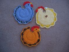 "Free Chicken Crochet Patterns | This potholder is newly crocheted and measures 10 1/2"" tall."