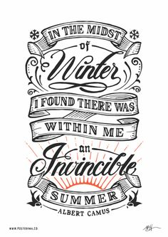 Inspirational quotes: Albert Camus Invincible Summer poster 2.
