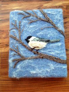 Needle felt chickadee painting