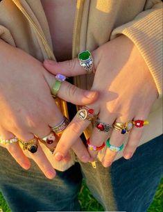 Nail Jewelry, Cute Jewelry, Jewelry Rings, Jewelry Accessories, Jewlery, Funky Jewelry, Girls Jewelry, Vintage Jewelry, Mode Indie