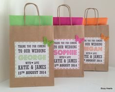 Wedding Gift Bag / Wedding Favour / Personalised by BizzyHeartsWeddings on Etsy