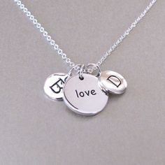 2 Silver Initials & Love Charm Necklace  by tangerinejewelryshop, $69.00
