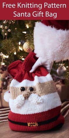 Free knitting pattern for Santa Claus gift bag - - Bag Claus Free for Gi .Free knitting pattern for Santa Claus gift bag - - Bag Claus Free for Gift Free Crochet Knitting Needles, Free Knitting, Free Crochet, Knit Crochet, Loom Knitting, Simple Knitting, Crochet Hats, Knitting Machine, Knitted Baby