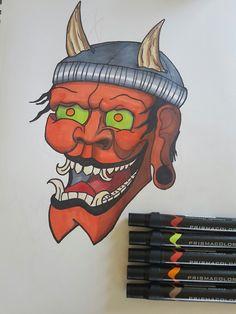 hipster Hannya mask. by cameron jacques #prismacolor