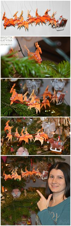 Origami Reindeer Sleigh by Brigitta Katyina. Christmas may be over, but it's not too late to pin my Origami Reindeer Sleigh that I made in 2012 :) I restored it in 2017, and added some strings to hang them. #BryStyle #brigittakatyina  #epiphany #christmas #christmasisover #reindeer #origami #sleigh #oldproject #rudolph #nevertoolate #didnthavetimetopin #hobby