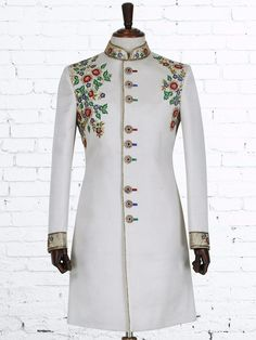 Shop Cream silk designer indo western online from India. Sherwani Groom, Mens Sherwani, Wedding Sherwani, Vintage Wedding Suits, Wedding Dress Men, Wedding Wear, Batik Fashion, Suit Fashion, Indian Groom Wear