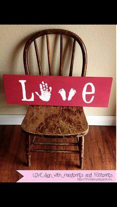 Cute idea for hand/ foot print keep sakes